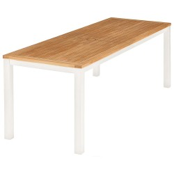 Barlow Tyrie Aura 200cm Rectangular Narrow Table – Arctic White Frame with Teak Top