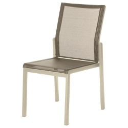 Barlow Tyrie Aura Stacking Dining Chair – Champagne Frame with Titanium Sling