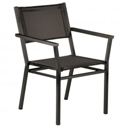 Barlow Tyrie Equinox Powder Coated Stacking Dining Armchair – Graphite Frame with Carbon Sling