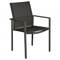 Barlow Tyrie Mercury Powder Coated Stacking Dining Armchair – Graphite Frame with Carbon Sling