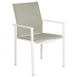 Barlow Tyrie Mercury Powder Coated Stacking Dining Armchair – Arctic White Frame with Seagull Sling