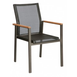 Barlow Tyrie Aura Stacking Armchair - Graphite Frame with Charcoal Sling