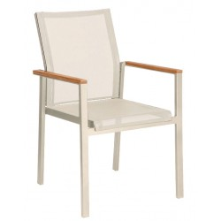 Barlow Tyrie Aura Stacking Armchair – Arctic White Frame with Pearl Sling