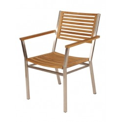 Barlow Tyrie Equinox Stacking Armchair with Teak Seat and Back