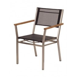 Barlow Tyrie Equinox Stacking Armchair - Teak Armrests with Charcoal Sling