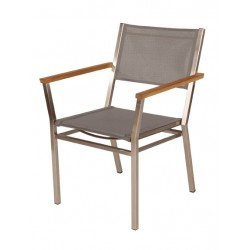 Barlow Tyrie Equinox Stacking Armchair - Teak Armrests with Platinum Sling
