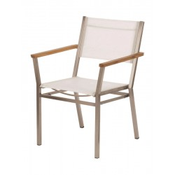 Barlow Tyrie Equinox Stacking Armchair - Teak Armrests with Pearl Sling
