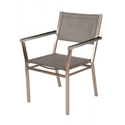 Barlow Tyrie Equinox Stacking Armchair - Graphite Armrests with Platinum Sling