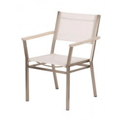 Barlow Tyrie Equinox Stacking Armchair – Arctic White Armrests with Pearl Sling