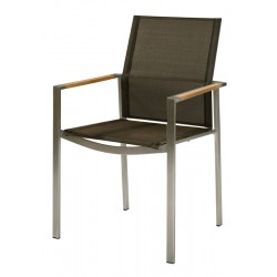 Barlow Tyrie Mercury Stacking Armchair - Teak Armrests with Charcoal Sling