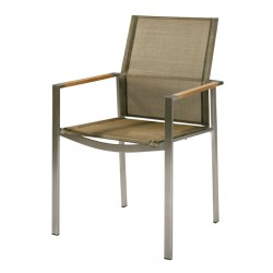 Barlow Tyrie Mercury Stacking Armchair - Teak Armrests with Titanium Sling