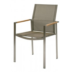 Barlow Tyrie Mercury Stacking Armchair - Teak Armrests with Platinum Sling