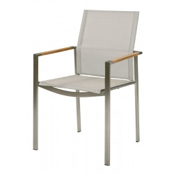 Barlow Tyrie Mercury Stacking Armchair - Teak Armrests with Pearl Sling