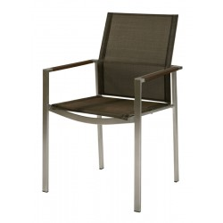 Barlow Tyrie Mercury Stacking Armchair - Graphite Armrests with Charcoal Sling