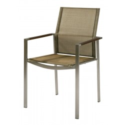 Barlow Tyrie Mercury Stacking Armchair - Graphite Armrests with Titanium Sling