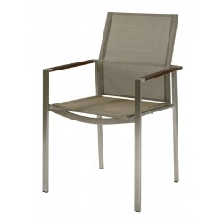 Barlow Tyrie Mercury Stacking Armchair - Graphite Armrests with Platinum Sling