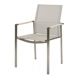 Barlow Tyrie Mercury Stacking Armchair – Arctic White Armrests with Pearl Sling
