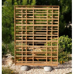 Barlow Tyrie Portrait Woodland Teak Screen with Pebble Feet