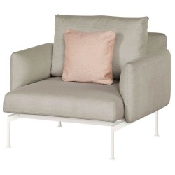 Barlow Tyrie Layout DS Armchair with Low Arms – Powder Coated Arctic White Frame with Waterproof Seat and Back Cushions