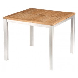 Barlow Tyrie Aura 90cm Square Table - Arctic White Frame with Teak Top