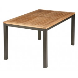 Barlow Tyrie Aura 150cm Rectangular Table - Graphite Frame with Teak Top