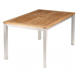 Barlow Tyrie Aura 150cm Rectangular Table - Arctic White Frame with Teak Top