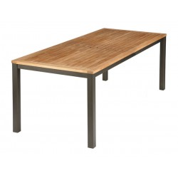 Barlow Tyrie Aura 200cm Rectangular Table - Graphite Frame with Teak Top
