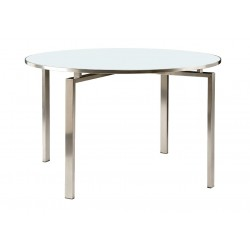 Barlow Tyrie Mercury 120cm Round Dining Table with Glass Top