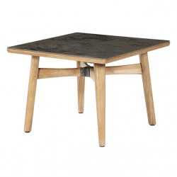 Barlow Tyrie Monterey 100cm Square Teak Dining Table with Oxide Ceramic Top