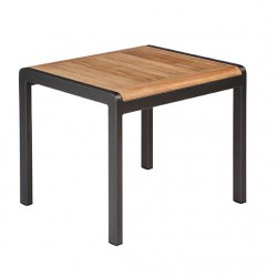 Barlow Tyrie Aura 52cm Rectangular Side Table - Graphite Frame with Teak Top