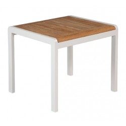 Barlow Tyrie Aura 52cm Rectangular Side Table - Arctic White Frame with Teak Top
