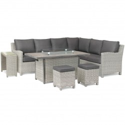 Kettler Palma Left Hand Casual Dining Corner Set White Wash with Fire Pit Table