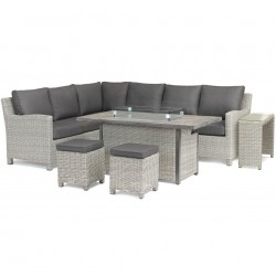 Kettler Palma Right Hand Casual Dining Corner Set White Wash with Fire Pit Table