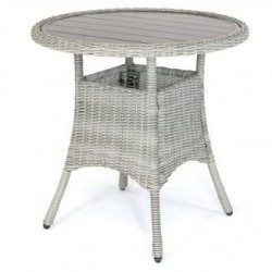 Kettler Palma Round Bistro Table - Whitewash with Painted Aluminium Slat Top