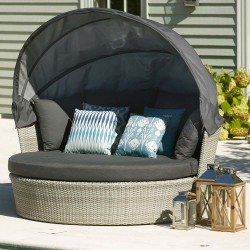 Bramblecrest Monterey Daybed with Canopy and Charcoal Season-Proof Cushions