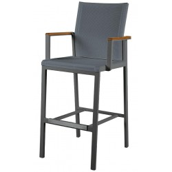 Barlow Tyrie Aura High Dining Carver Chair – Graphite Frame with Charcoal Sling