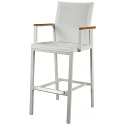 Barlow Tyrie Aura High Dining Carver Chair – Arctic White Frame with Pearl Sling