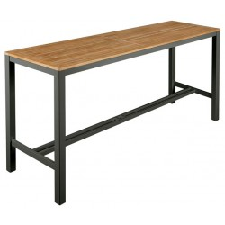 Barlow Tyrie Aura 200cm Rectangular High Dining Table - Graphite Frame with Teak Top