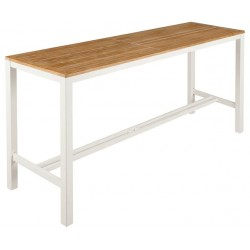 Barlow Tyrie Aura 200cm Rectangular High Dining Table – Arctic White Frame with Teak Top