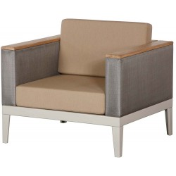 Barlow Tyrie Aura Modular Deep Seating Armchair – Champagne Frame with Titanium Sling