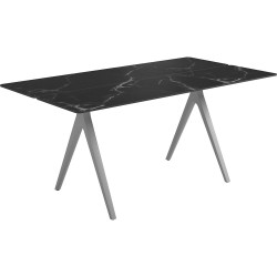 Gloster Split 170 x 92cm Rectangular Table – White Frame with Nero Ceramic Top