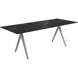 Gloster Split 220 x 92cm Rectangular Table – White Frame with Nero Ceramic Top