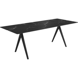 Gloster Split 220 x 92cm Rectangular Table – Meteor Frame with Nero Ceramic Top